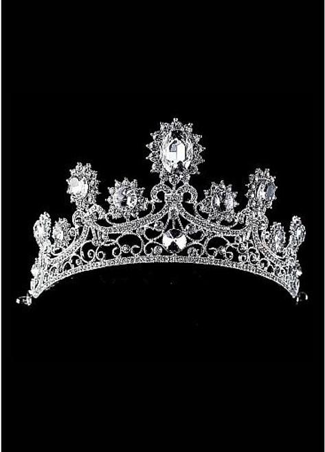 In Stock Stunning Czech Rhinestones & Alloy & Rhinestones & Man-made Crystal Silver-plated Tiara