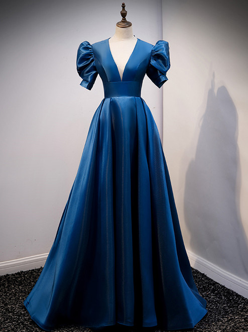 Blue Satin Puff Sleeve Backless Prom Dress