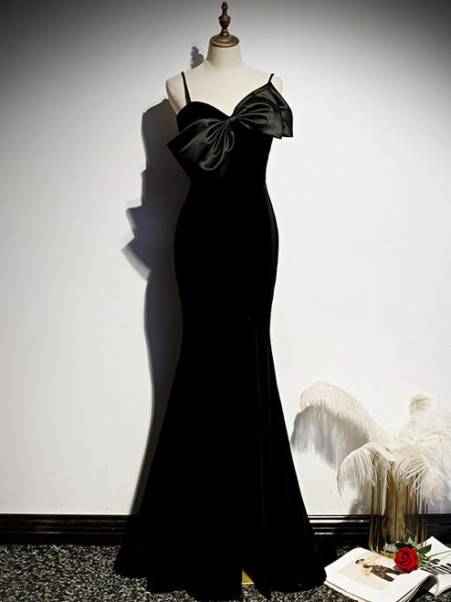 Sexy Black Mermaid Spaghetti Straps Prom Dress
