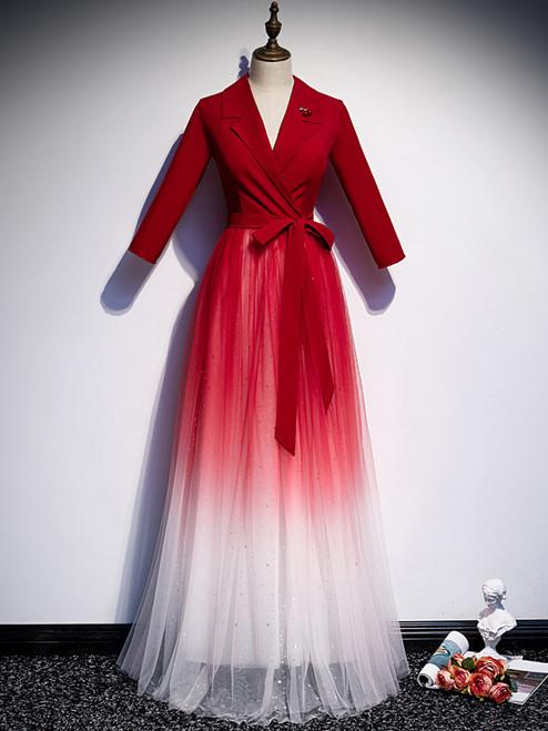 Red Tulle Long Sleeve V-neck Prom Dress