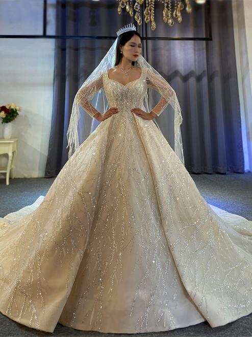 Light Champagne Tulle Sequins V-neck Long SLeeve Wedding Dress