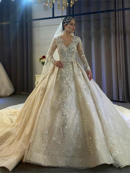 Luxury Sequins Long Sleeve Beading Wedding Dress With Long Train