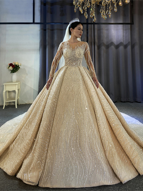 Sequins Long Sleeve Beading Wedding Dress With Long Train