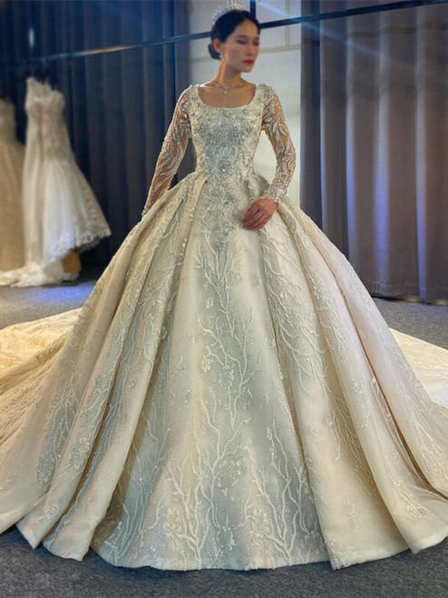 Sequins Beading Long Sleeve Wedding Dress With Train