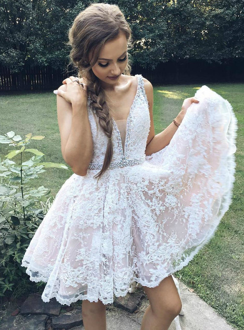 Short V-Neck Backless Lace Homecoming Dress With Beaded Waist