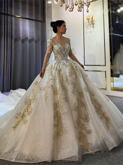 Ball Gown Tulle Sequins Long Sleeve Beading Wedding Dress