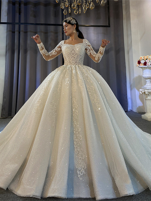 White Sequins Tulle Long Sleeve Beading Wedding Dress