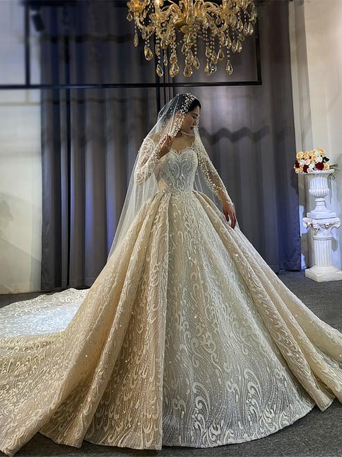 Light Champagne Sequins Long Sleeve Beading Wedding Dress