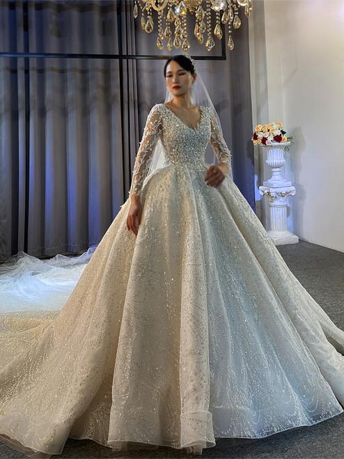 White Sequins V-neck Long Sleeve Beading Wedding Dress