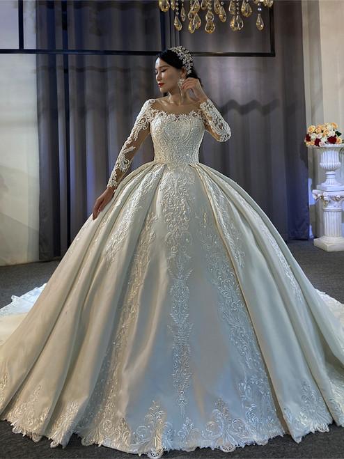 White Satin Appliques Long Sleeve Beading Wedding Dress