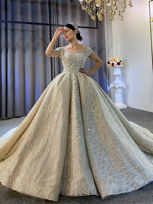 New arrivals Champagne Sequins Cap Sleeve Beading Wedding Dress