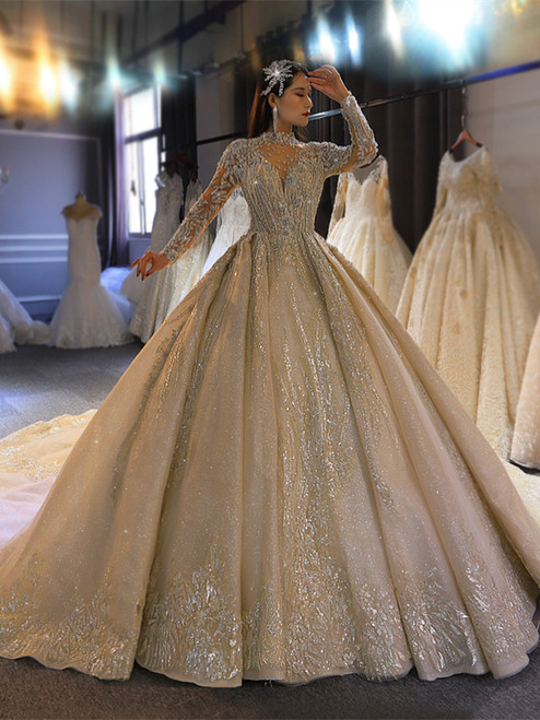 Tulle Sequins Backless Long Sleeve Beading Wedding Dress