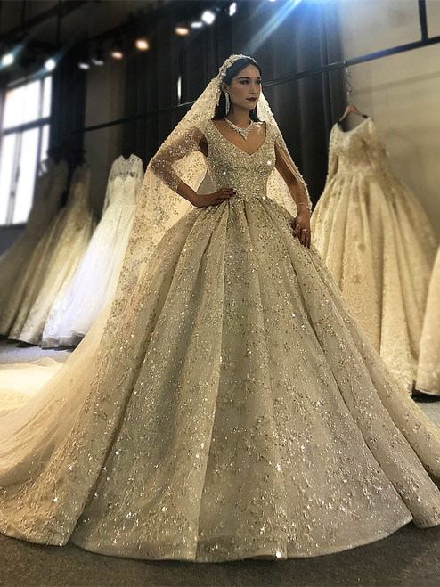Sequins Beading V-neck Backless Wedding Dress