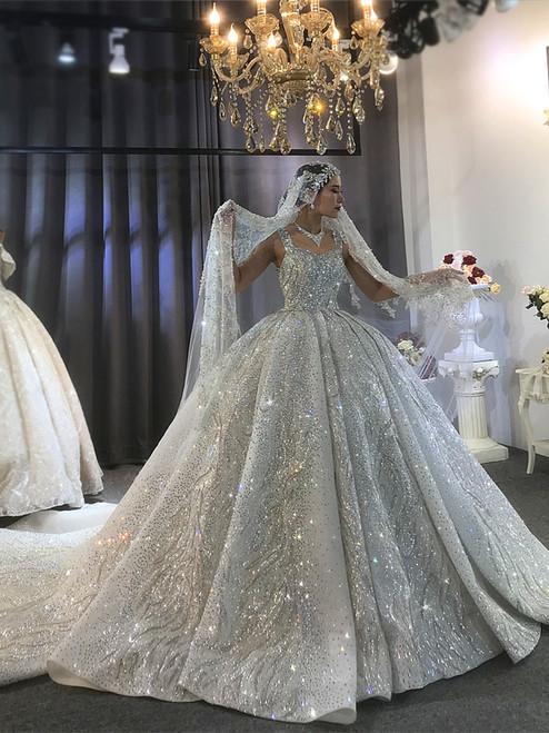 White Sequins Straps Beading Princess Luxurious Wedding Dress