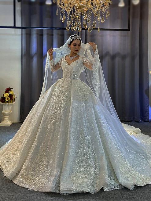 White Sequins V-neck Long Sleeve Beading Wedding Dress With Train