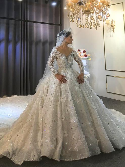 Long Sleeve Flower Princess Style Luxury Dream Wedding Dress