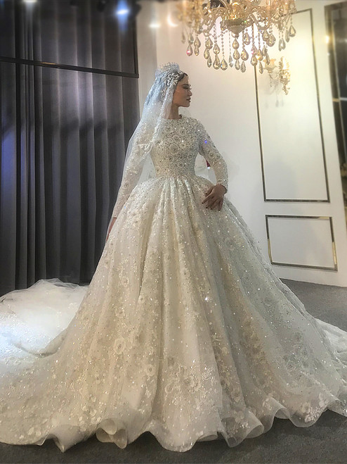 Muslim Dubai White Sequins Long Sleeve Pears Beading Wedding Dress