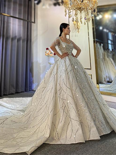 White Sequins Beading Square Short Sleeve Wedding Dress