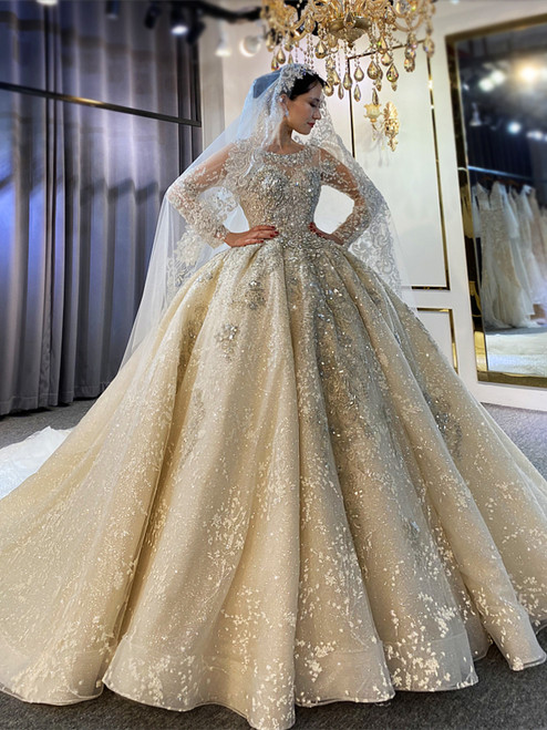 Long Sleeve Backless Sequins Beading Wedding Dress