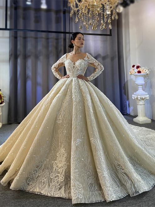Long Sleeve Sequins Appliques Beading Wedding Dress