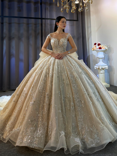 Ball Gown Backless Sequins Beading Long Train Wedding Dress