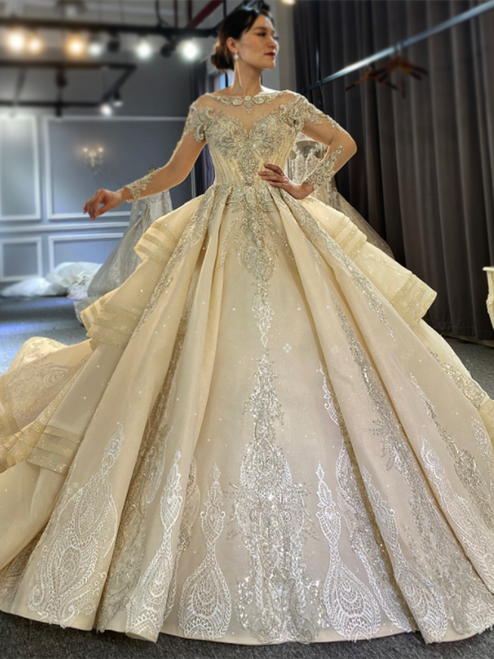 Long Sleeve Backless Beading Sequins Wedding Dress