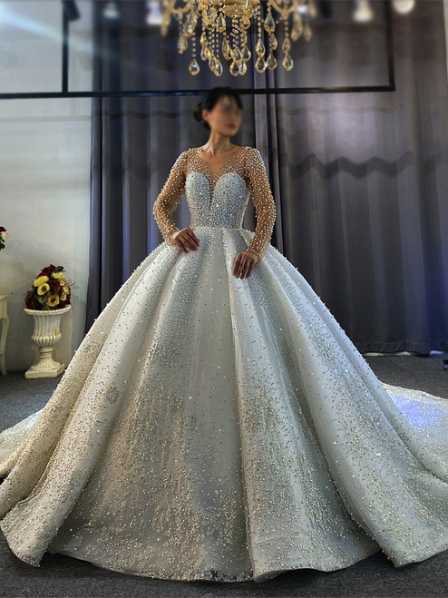 Sexy White Tulle Long Sleeve Pearls Wedding Dress