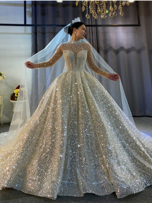 Sexy Sequins High Neck Backless Pearls Wedding Dress