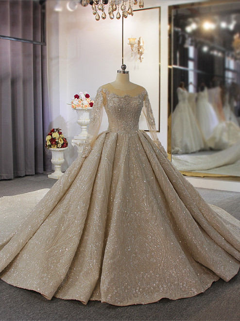 Champagne Sequins Long Sleeve Backless Wedding Dress