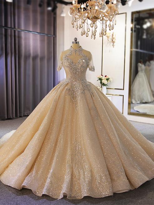 Champagne Sequins Beading Short Sleeve Wedding Dress