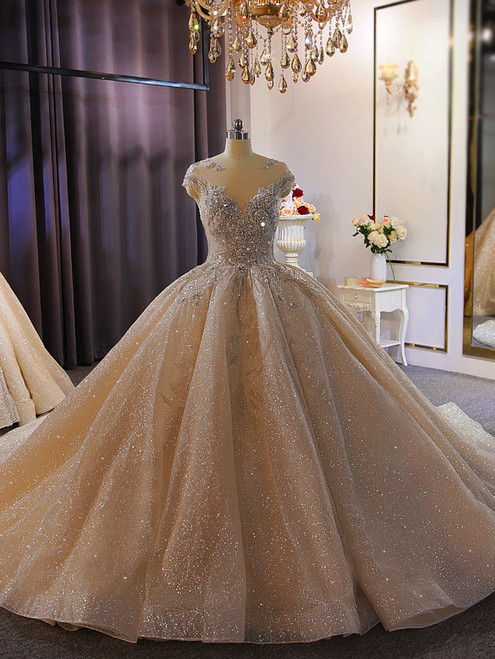 Champagne Sequins Beading Open Back Wedding Dress