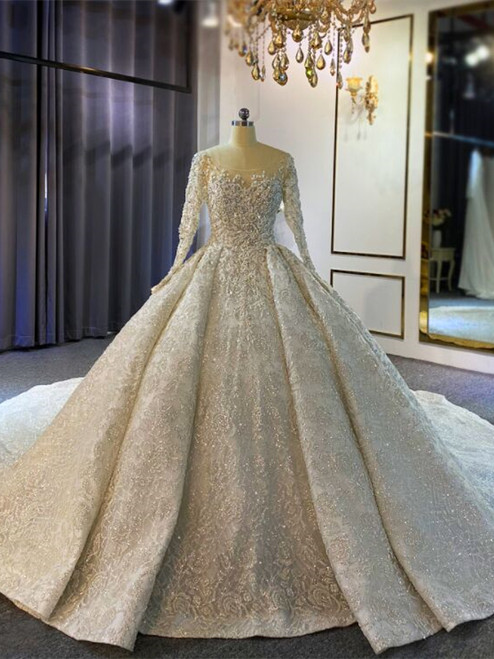 Ball Gown Sequins Long Sleeve Beading Luxury Wedding Dress