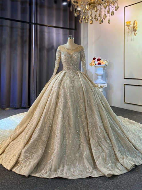 Champagne Sequins Beading Wedding Dress With Long Train