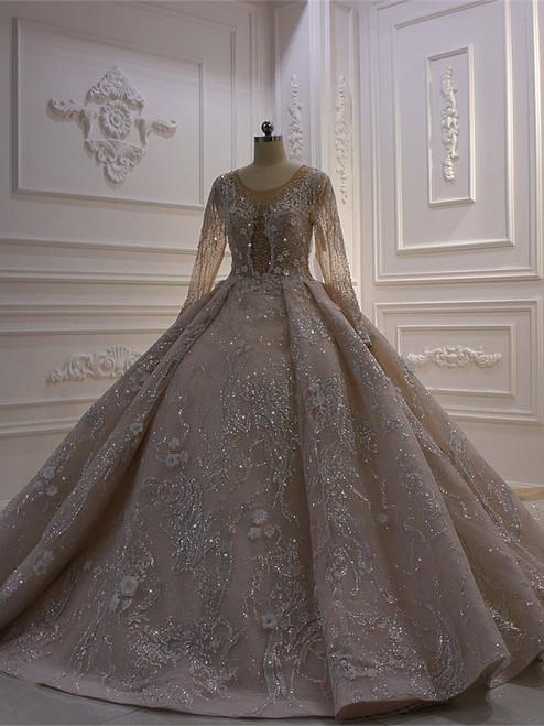 Sequins Long Sleeve Appliques Beading Wedding Dress
