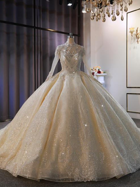 Vintage Sequins Long Sleeve Beading Wedding Dress