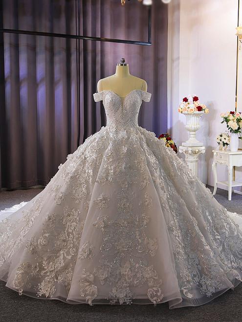 White Tulle 3D Appliques Beading Wedding Dress