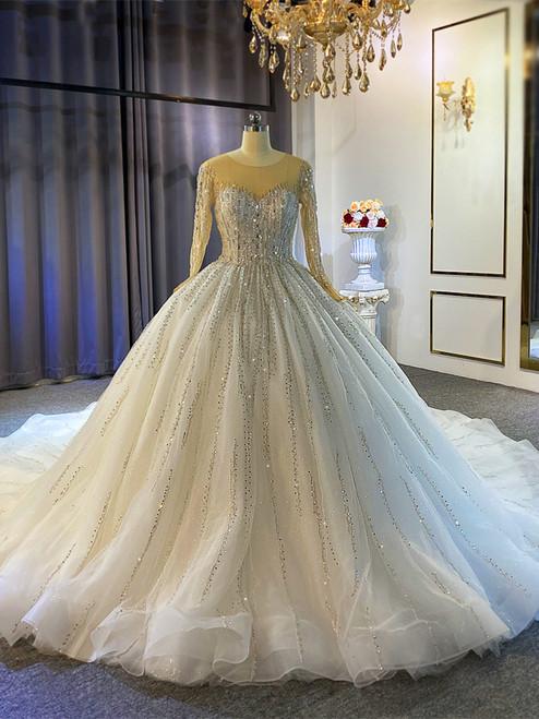 White Tulle Sequins Beading Long Sleeve Wedding Dress