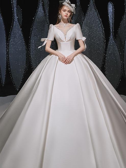 White Ball Gown Satin Short Sleeve Appliques Wedding Dress