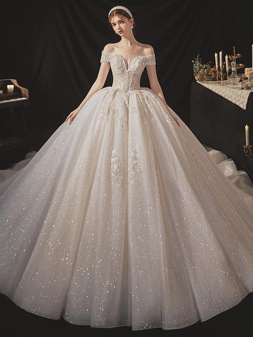 Tulle Sequins Appliques Beading Off th Shoulder Wedding Dress