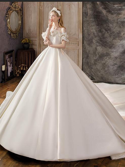 Ivory White Satin Short Sleeve Beading Wedding Dress