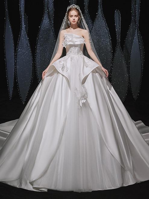 White Satin Strapless Appliques Beading Wedding Dress