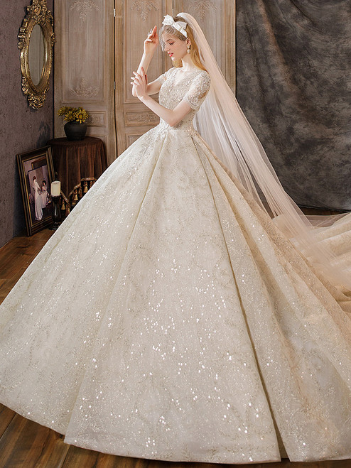 Champagne Sequins Short Sleeve Beading Wedding Dress With Long Train
