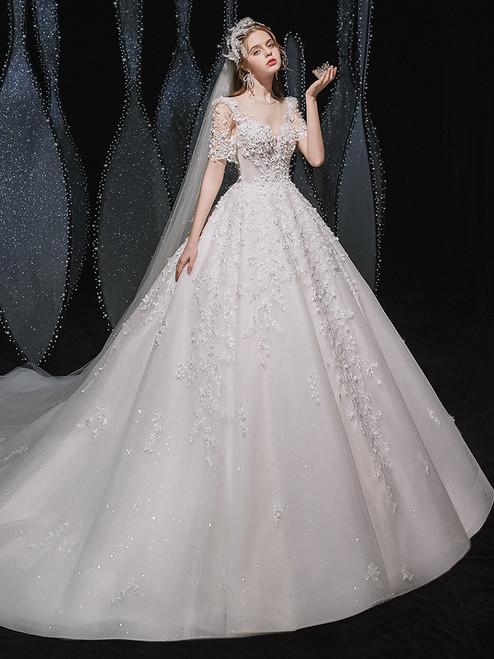 White Tulle Appliques Short Sleeve Wedding Dress
