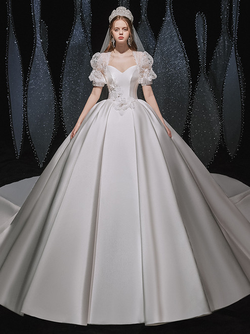 White Satin Puff Sleeve Backless Wedding Dress