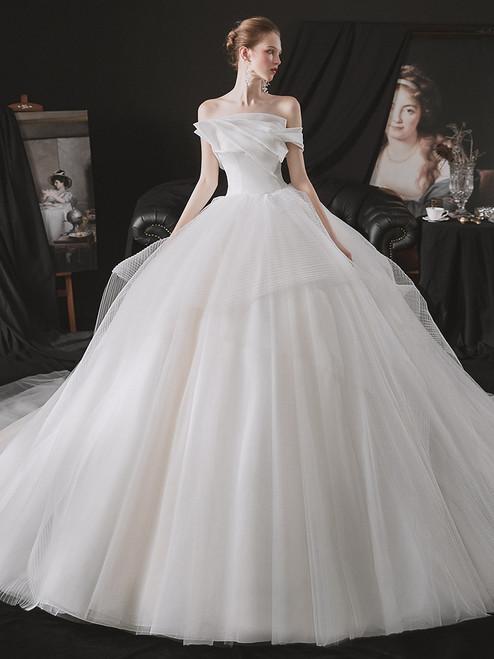 Fashion White Tulle Strapless Wedding Dress