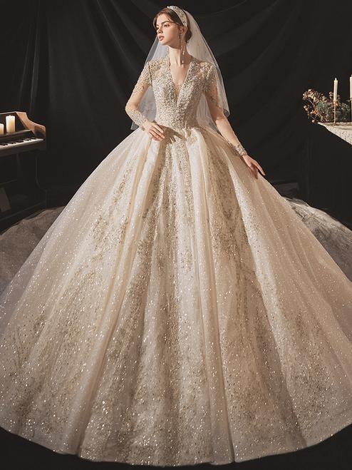 Champagne Sequins Tulle V-neck Long Sleeve Beading Wedding Dress