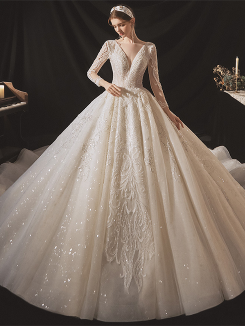 Champagne Sequins Appliques Long Sleeve Beading Wedding Dress
