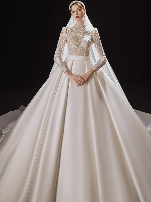 White Satin Lace Top Long Sleeve Backless Wedding Dress