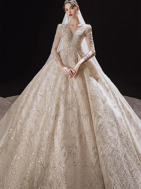 Sequins Ball Gown V-neck Long Sleeve Beading Wedding Dress