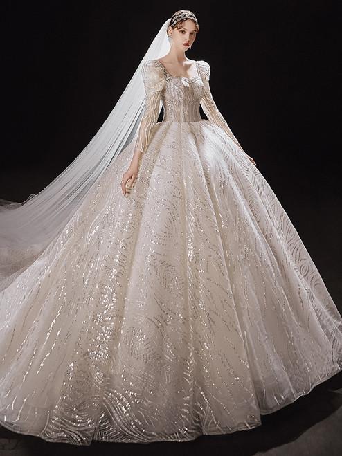 Ivory White Sequins Backless Long Sleeve Beading Wedding Dress